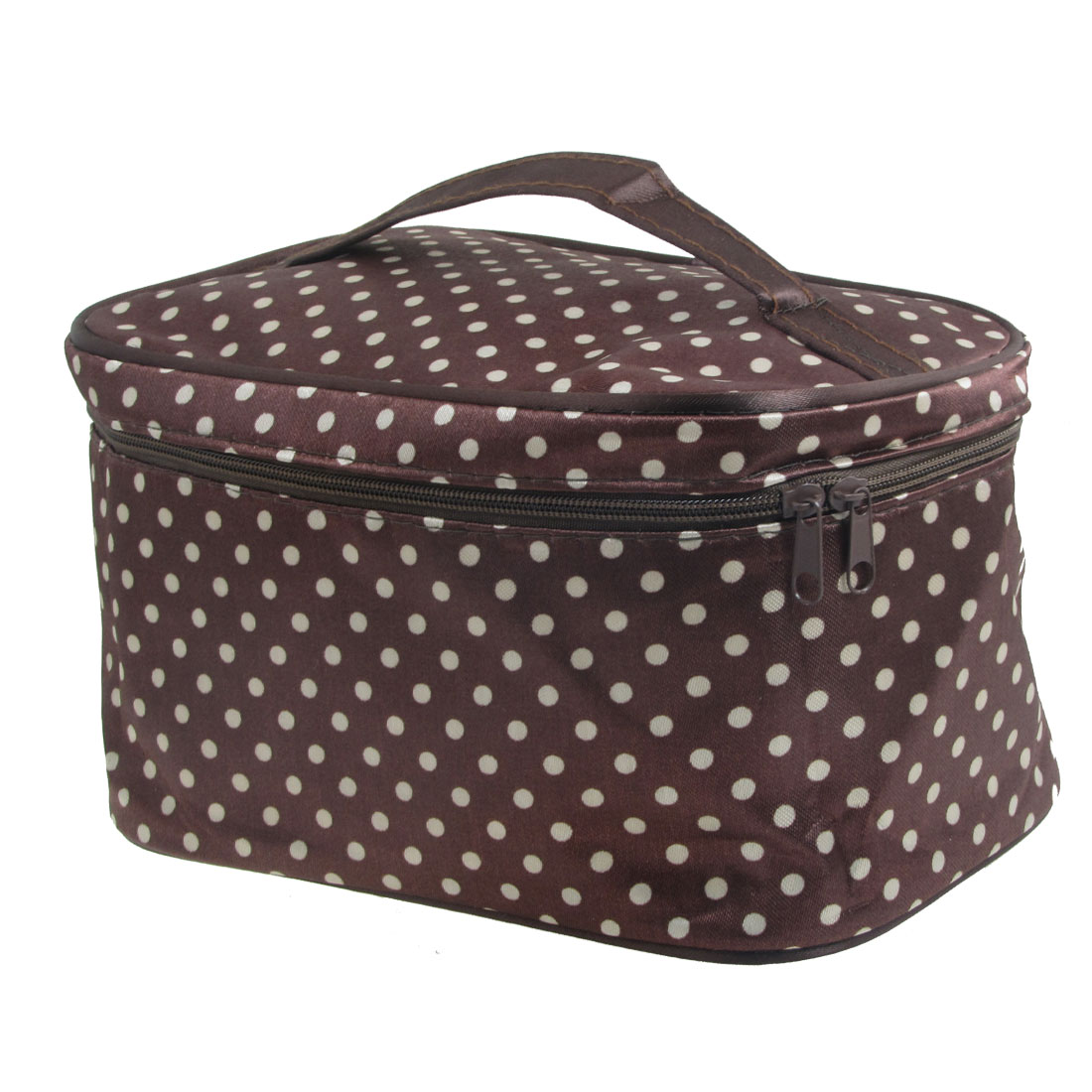 Double Zipper Closure Traveling Makeup Cosmetic Bag w Mirror