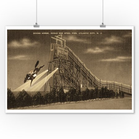 Atlantic City, New Jersey - Ocean End Steel Pier Diving Horse Scene - Sepia Version (9x12 Art Print, Wall Decor Travel (Atlantic City With Kids)