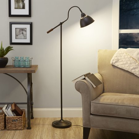 Better Homes & Gardens 5 Foot Adjustable Arm Floor Lamp Oil-Rubbed Bronze Finish, LED bulb included Bridge Bronze Floor Lamp