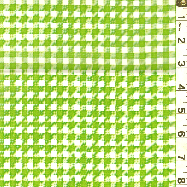 Green/White Check Oilcloth, Fabric By the Yard