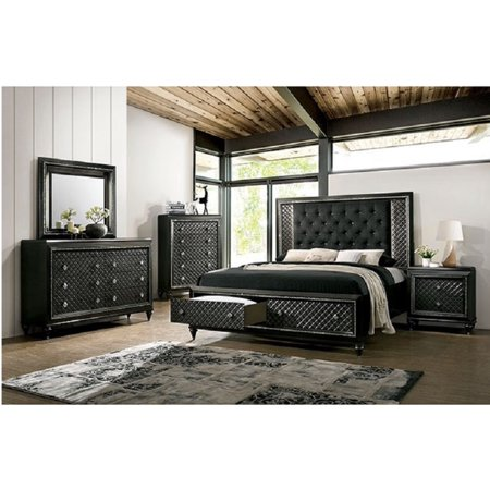 Contemporary metallic gray finish bedroom furniture 4pc - California king storage bedroom sets ...