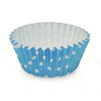 2Dia. x 1.2H Ruffled Cupcake Cup Polka Dot Blue,Case of 1800
