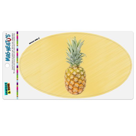 Pineapple Fruit on Yellow Tropical Background Automotive Car Refrigerator Locker Vinyl Euro Oval (Yellow Refrigerator)