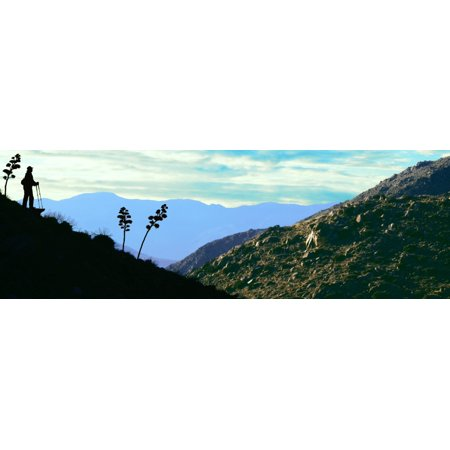 Silhouette of hiker on mountain California Riding And Hiking Trail Anza Borrego Desert State Park Colorado Desert San Diego County California USA Stretched Canvas - Panoramic Images (36 x