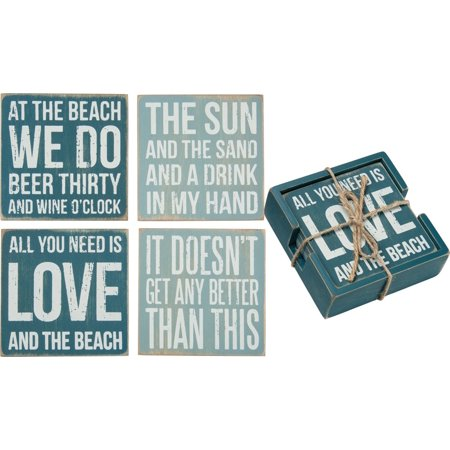 Wooden Drink Coasters - Beach Wooden Drink Coaster Set of 4, 4