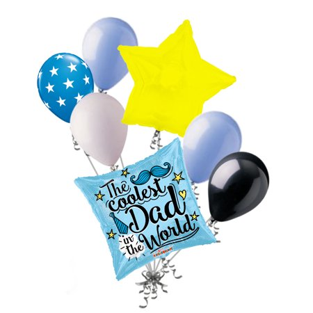 7 pc Coolest Dad Happy Father's Day Balloon Bouquet Party Decoration Mustache](Mustache Balloon)