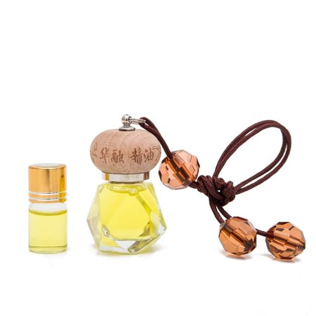 (THY COLLECTIBLES Fragrance Oil Aromatic Perfume Oil Locket Pendant- Lemon Scent 10ML Prefilled Elegant Quadrangle Glass Bottle And An Extra 3ML Refill-Nice Hanging Decoration Display For Home Or Car)