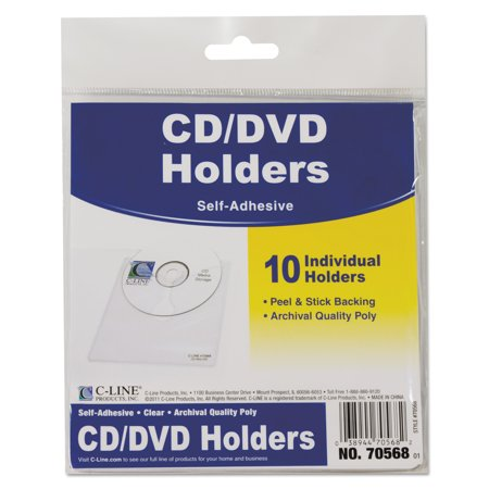 C-Line Self-Adhesive CD Holder, 5 1/3 x 5 2/3, 10/PK