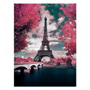 DIY 5D Diamond Painting by Number Kits, Eiffel Tower Crystal Rhinestone Embroidery Paint with Diamonds
