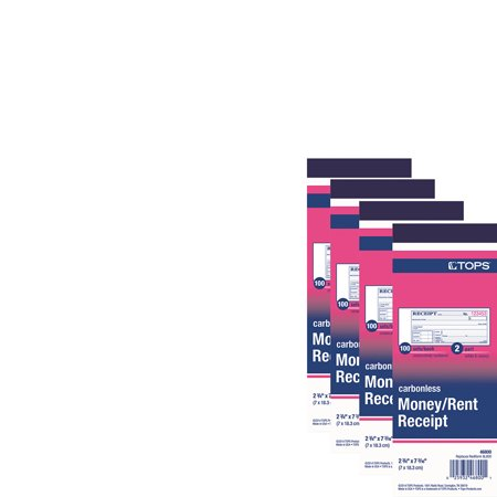 (4 Pack) TOPS Money and Rent Receipt Books, 2-3/4 x 7-3/16, 2-Part Carbonless, 100 Sets/Book -TOP46800