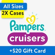 Buy 2, Get $20 Gift Card: Pampers Cruisers Diapers, OMS Pack, (Choose Your Size)