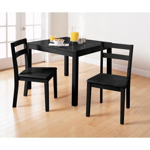 Mainstays Parsons 3 Piece Dining Set, Black