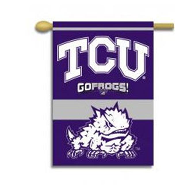 BSI Products 96082 Texas Christian Horned Frogs- 2-Sided 28 inch X 40 inch Banner with Pole Sleeve