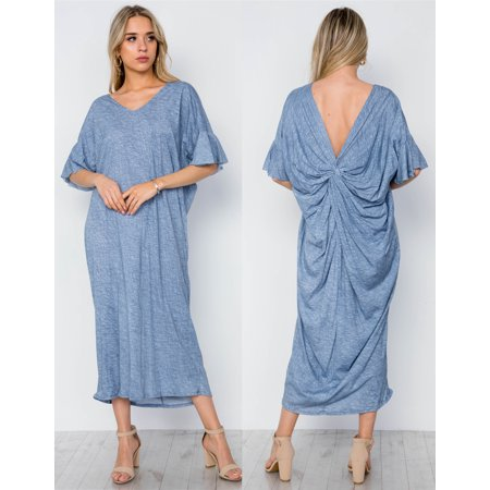JED FASHION Women's Twist Knot Resort Maxi Dress