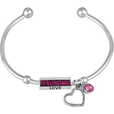 Swarovski Crystal Fine Silver-Tone Open Heart Love Cuff Bracelet
