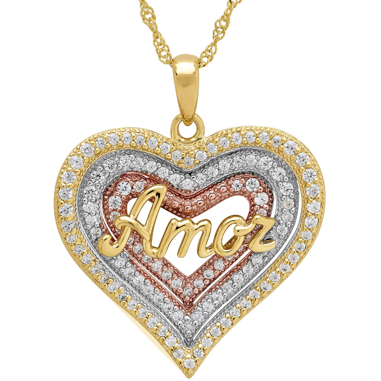 "Sterling Silver and 18kt Gold-Plate Heart with CZ and ""Amor"" Pendant"