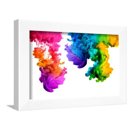Ink in Water Isolated on White Background. Rainbow of Colors Framed ...