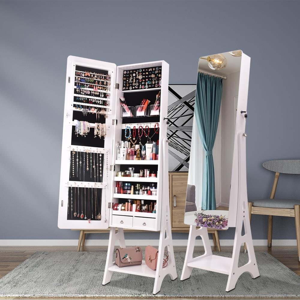 Winado Jewelry Cabinet with Full-Length Mirror, Standing ...