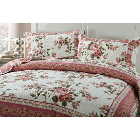 Dainty Bohemian Cottage Quilted Bedspread Set by DaDa Bedding Collection ()