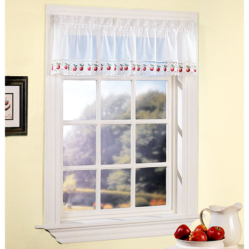 Apple Orchard Sheer Voile Kitchen Valance, White with Dark Pink Apples