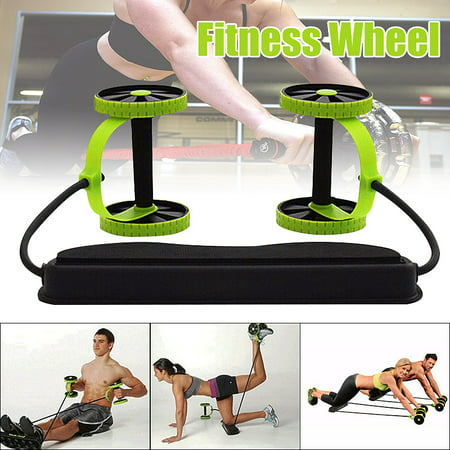 Double AB Roller Wheel Sport Core Fitness Abdominal Exercises Equipment Waist Slimming Trainer Abdominal Trainers Training Workout Machine Gym (Best Cheap Workout Equipment)