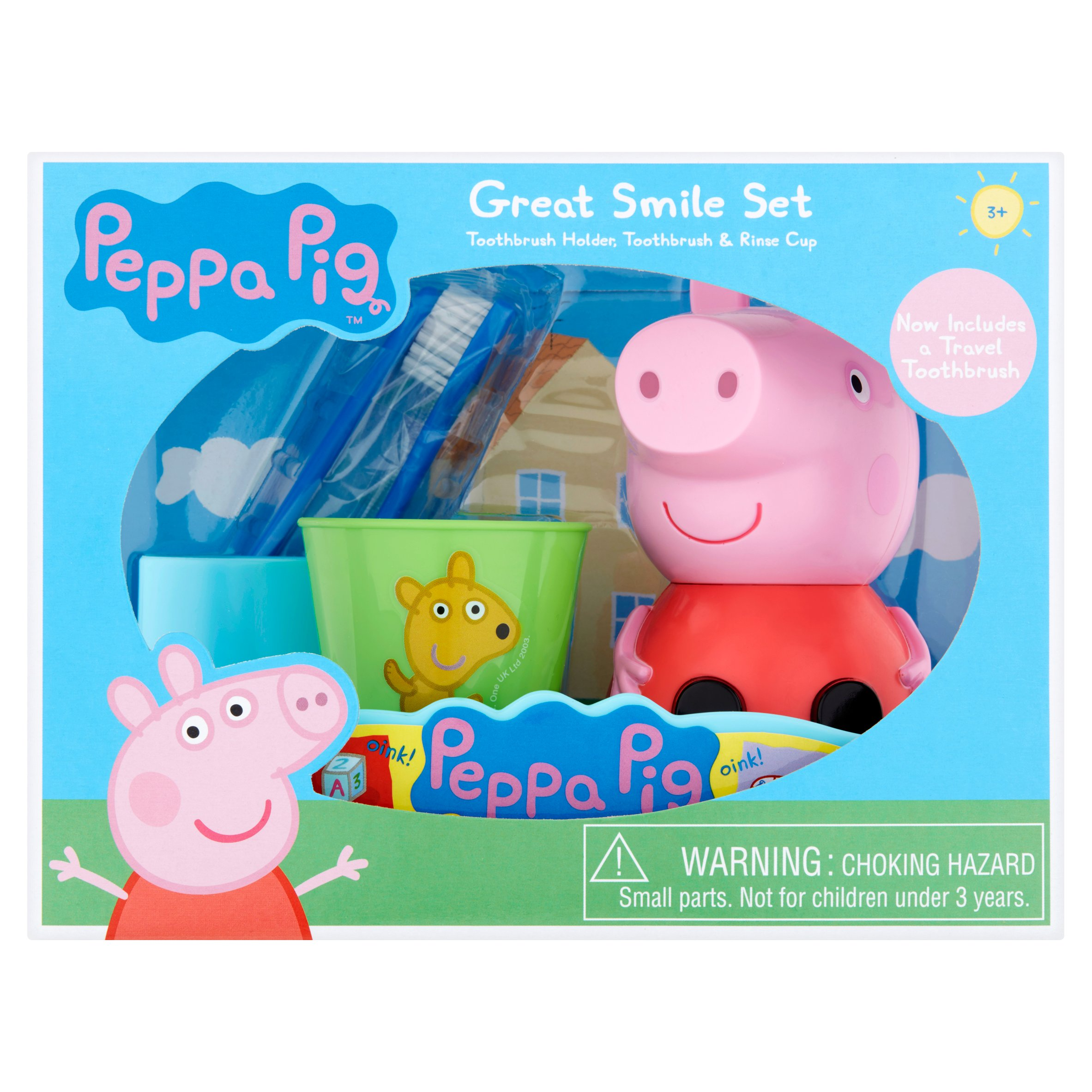 Peppa Pig Toothbrush, Toothbrush Holder, Rinse Cup Gift Set, 3pcs