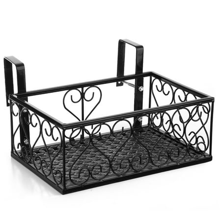 Flower Pot Stand Rack Deck Rail Flowerpot Railing Shelf Balcony Rail Planter Shelf Fence Railing Flower Pots