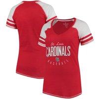 St. Louis Cardinals Soft As A Grape Women's Down the Line Color Blocked Tri-Blend V-Neck Raglan Sleeve T-Shirt - Red