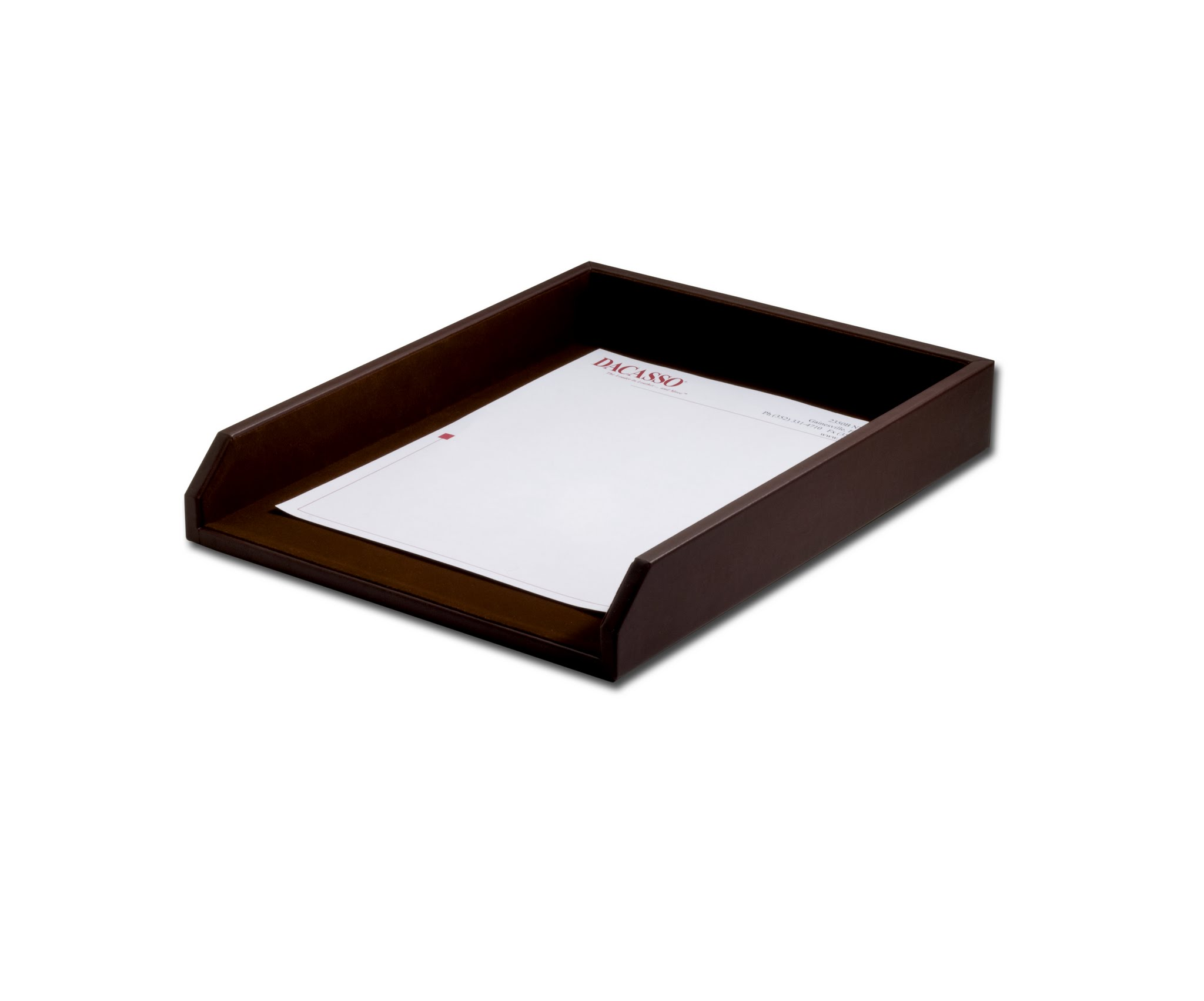 Chocolate Brown Leather Letter Tray by Dacasso