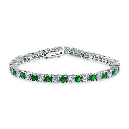 Simulated Emerald CZ Tennis Bracelet 7.5in Rhodium Plated