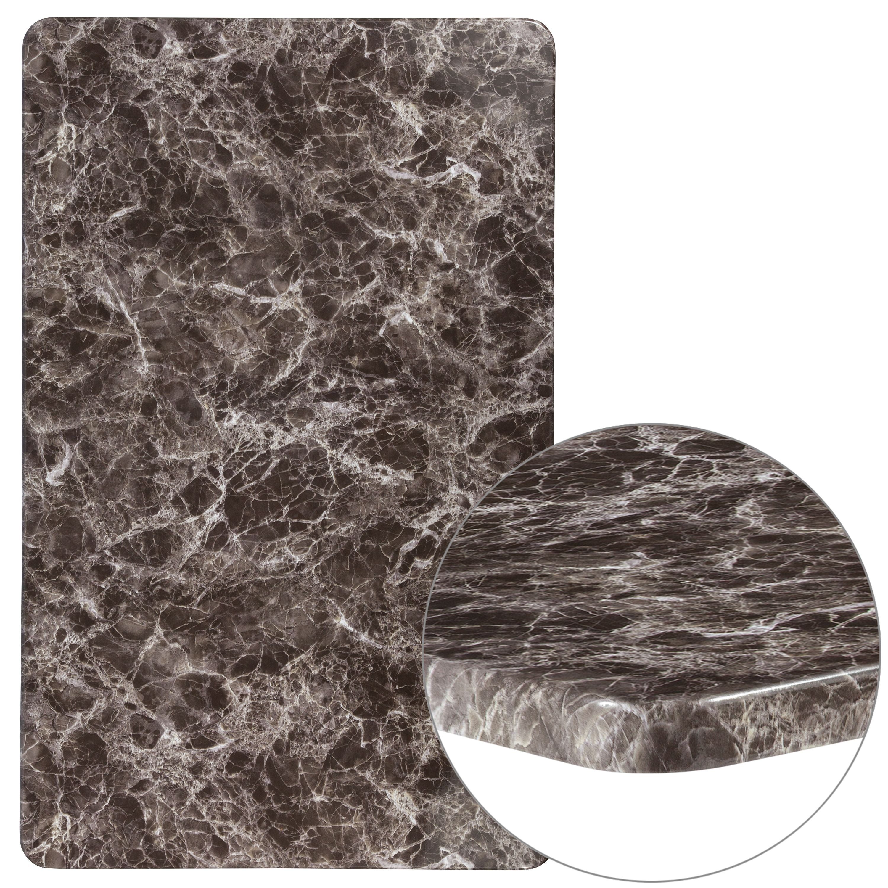 "Flash Furniture 30"" x 48"" Rectangular Gray Marble Laminate Table Top"