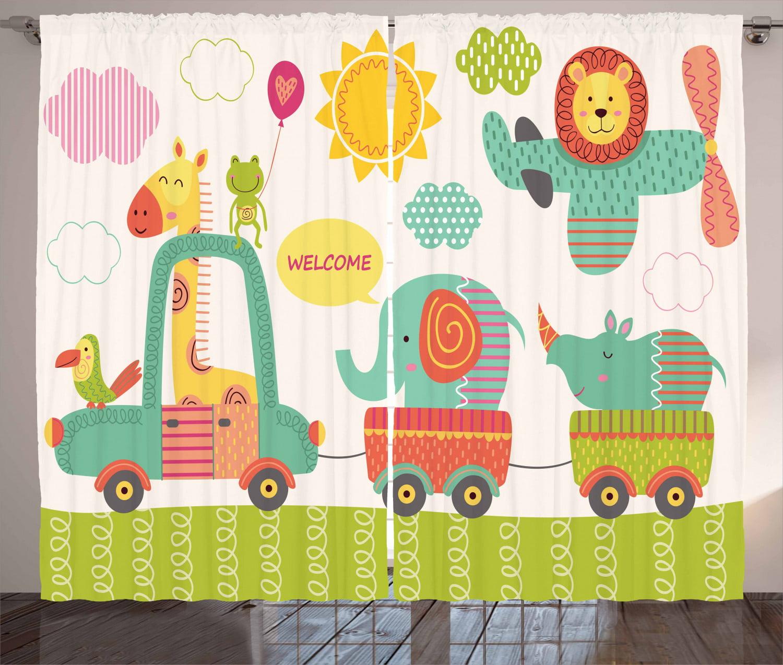 Kids Curtains Jungle Nursery Decor Toucan Lion Palm Leaf Safari Baby Shower Tropical Curtains Baby Curtains Monkey Animal Curtains