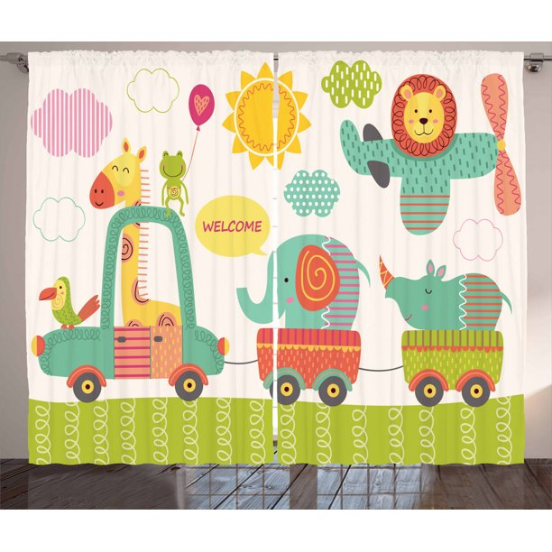 Kids Curtains 2 Panels Set Train With