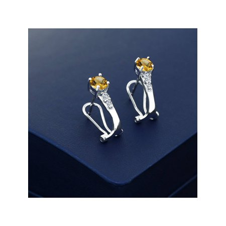1.14 Ct Round Yellow Citrine White Topaz 925 Sterling Silver Earrings - image 2 of 3