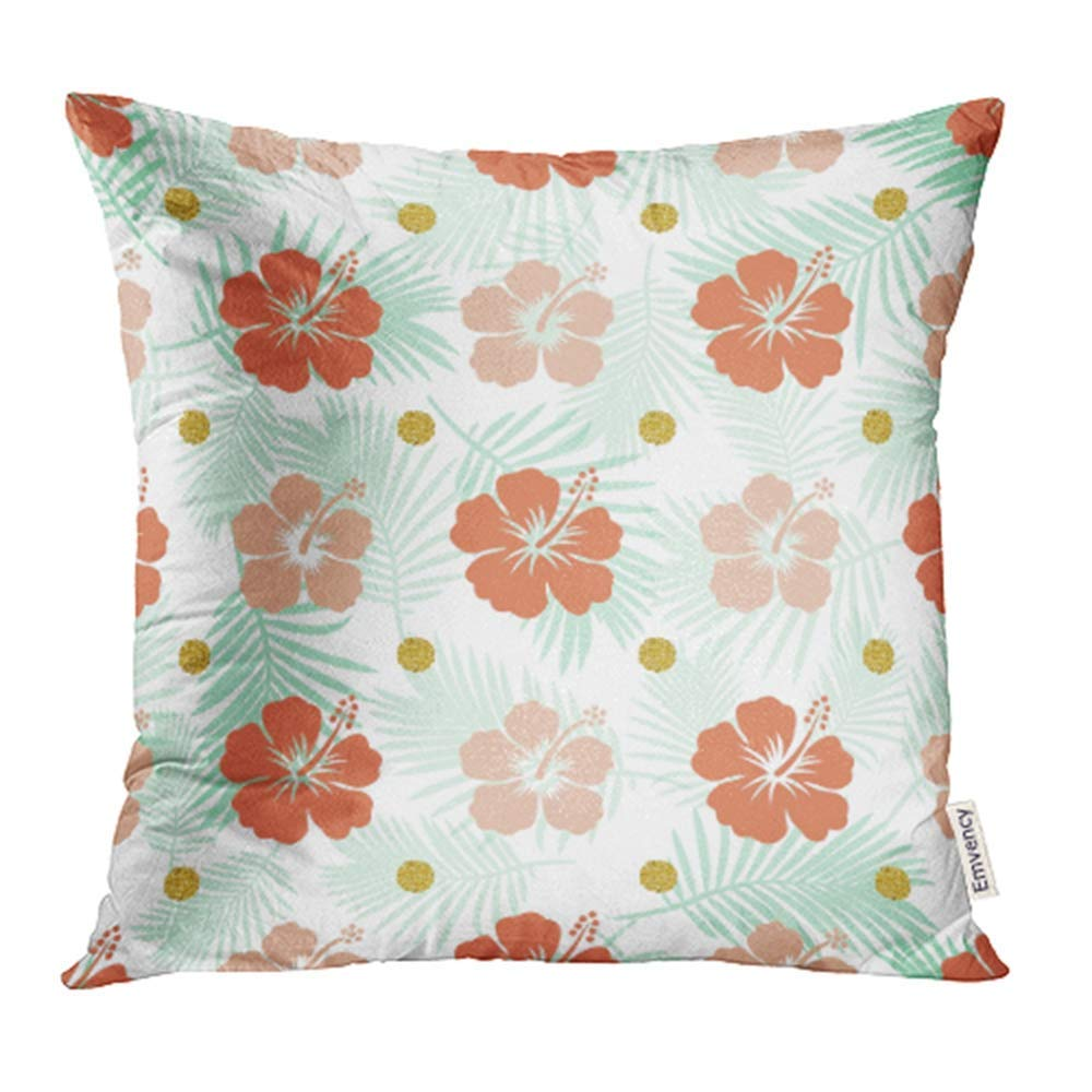 USART Abstract Hibiscus Pattern Blossom Botanical Dot Elegant Fern Floral Flower Pillowcase Cushion Cases 16x16 inch