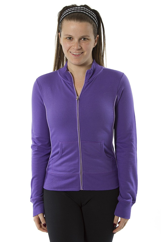 Women's Long Sleeve Zip-Up Track Style Lightweight Jacket