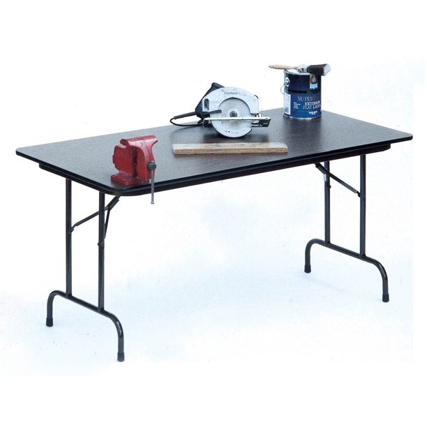 High Pressure Folding Table in Black Granite (18 in. x 60 in./Walnut)