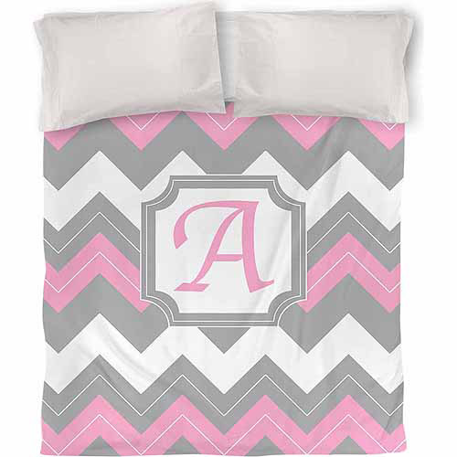 Thumbprintz Chevron Monogram Duvet Cover, Pink