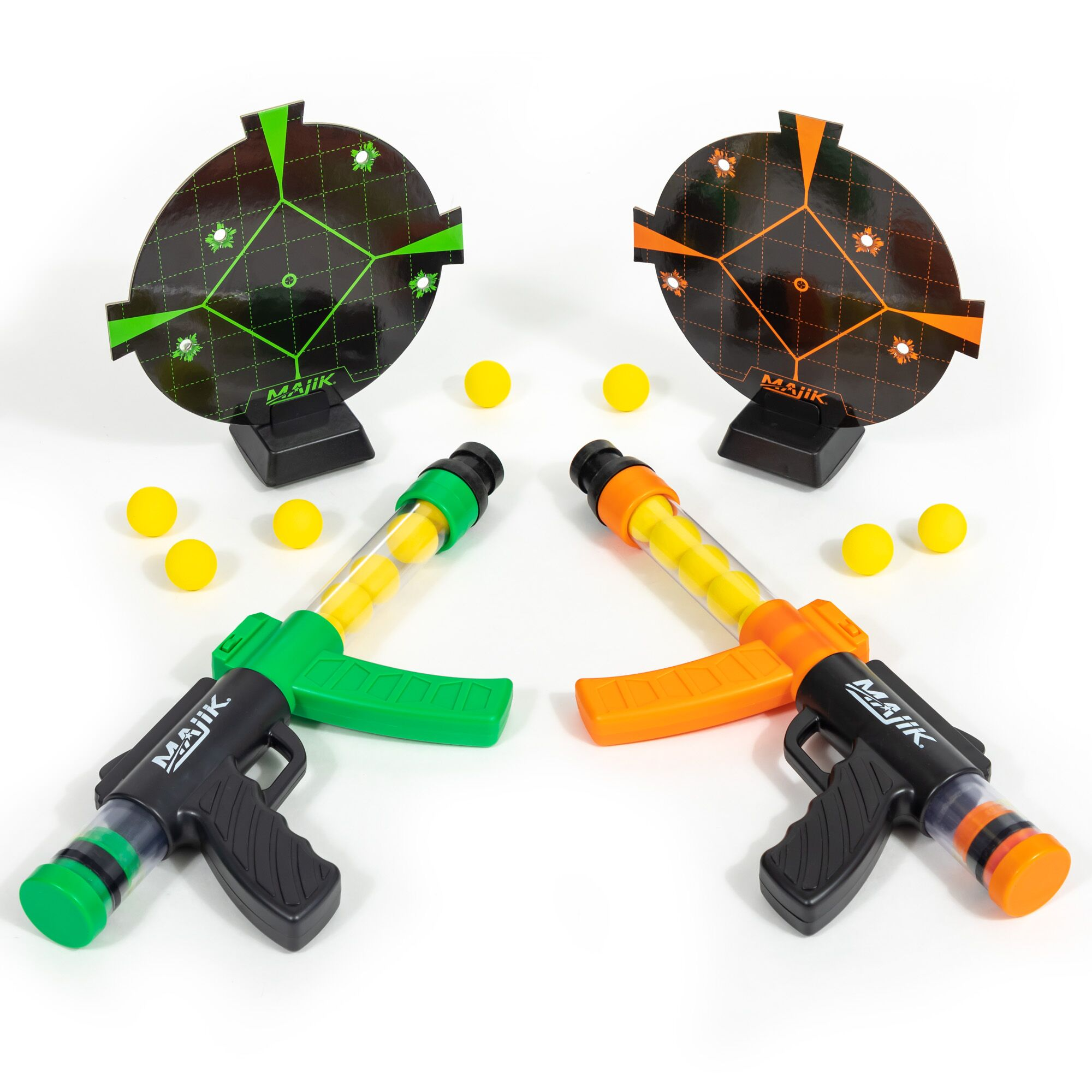 Majik Ball Blaster Shootout, 2 Ball Blasters, 24 Foam Rounds and 2 Targets