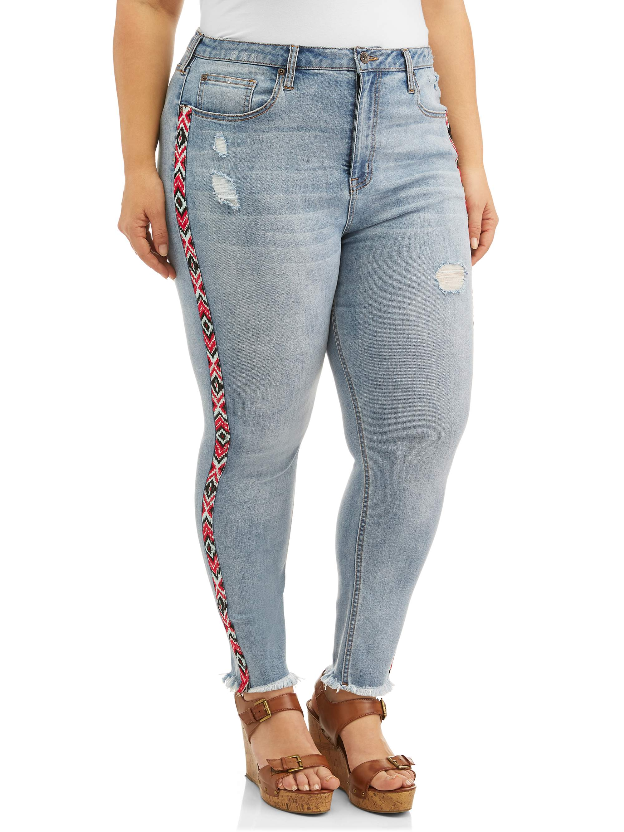 Women's Plus Size Cropped Skinny Jean with Embroidered Taping & Fray Hem