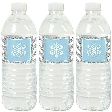 Water Winter Wonderland (Winter Wonderland - Snowflake Holiday Party & Winter Wedding Water Bottle Sticker Labels - Set of)