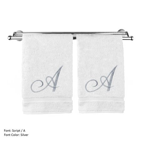 Monogrammed Washcloth Towel, Personalized Gift, 13x13 Inches - Set of 2 - Silver Script Embroidered Towel - Extra Absorbent 100% Turkish Cotton - Soft Terry Finish - Initial A White