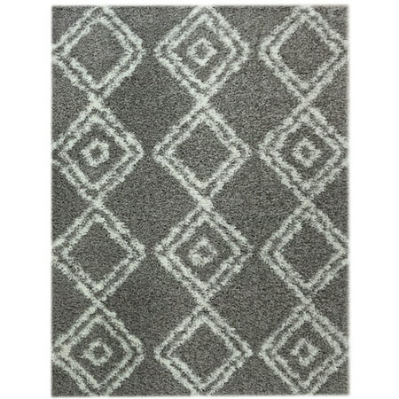 Super area rugs cozy plush grey white diamond shag rug 3 39 2 x 5 39 - Cozy white shag rug for the comfortable steps sensation ...