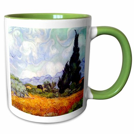3dRose Wheat Field with Cypresses by Vincent van Gogh 1889 - wheatfield - cornfield - trees fine landscape - Two Tone Green Mug, 11-ounce