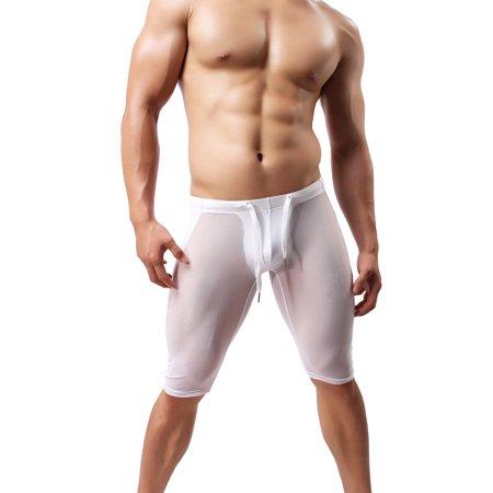 Brave Person Sexy Transparent Gauze Sports Shorts Fitness Pants SB2228 (Medium, White)