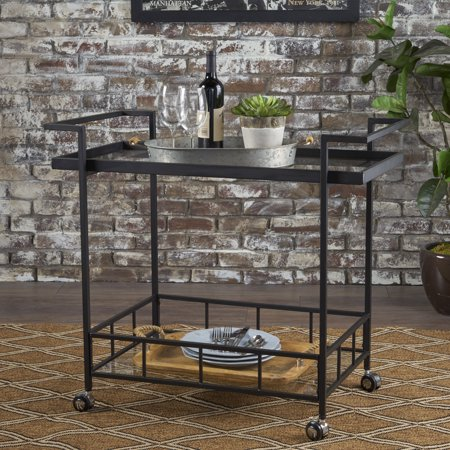 - Noble House Indoor Industrial Iron Bar Cart with Tempered Glass Shelves,Black