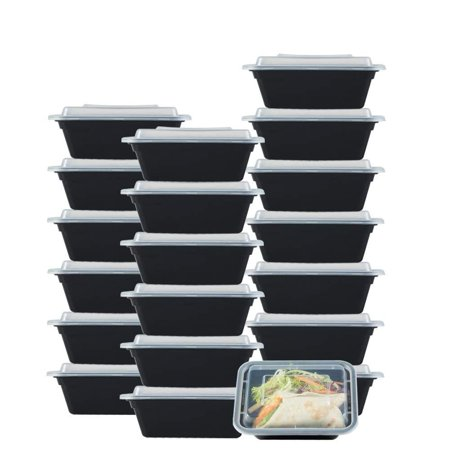 NutriBox [20 value pack] single one compartment 12oz mini Meal Prep Food Storage Containers - BPA Free Reusable Lunch bento Box with Lids - Spill proof, Microwave, Dishwasher and Freezer Safe