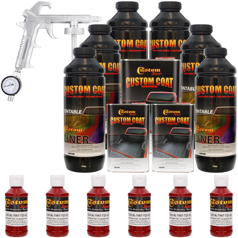Bed Liner CUSTOM COAT BLOOD RED 6-L Urethane Spray-On Truck Kit w/ Spray Gun