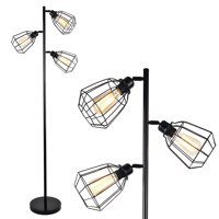 LeonLite 65inch Track Tree Floor Lamp, 3-head Torchiere Lamp Fixture with Open Cage Shades, Vintage Iron Art