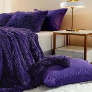 5-Pieces Plush Shaggy Duvet Cover Luxury Ultra Soft Crystal Velvet Bedding Set with Faux Fur Pillow Shams & Microfiber Pillowcases,Zipper Closure (Queen, Purple)